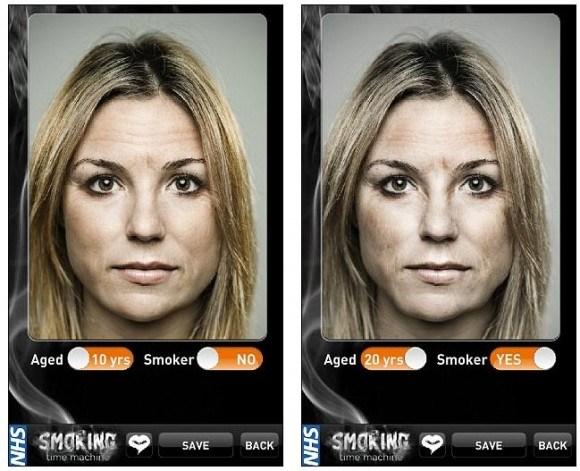 喫煙前の女性の顔